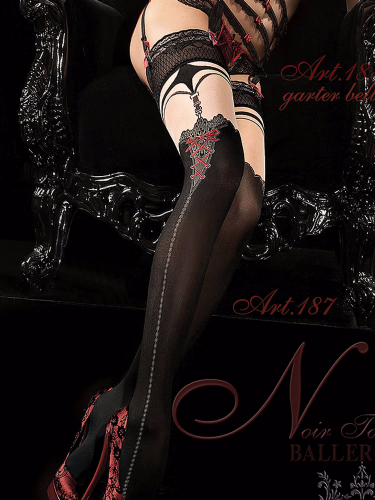 Ballerina Black Hold Ups with Faux Suspender